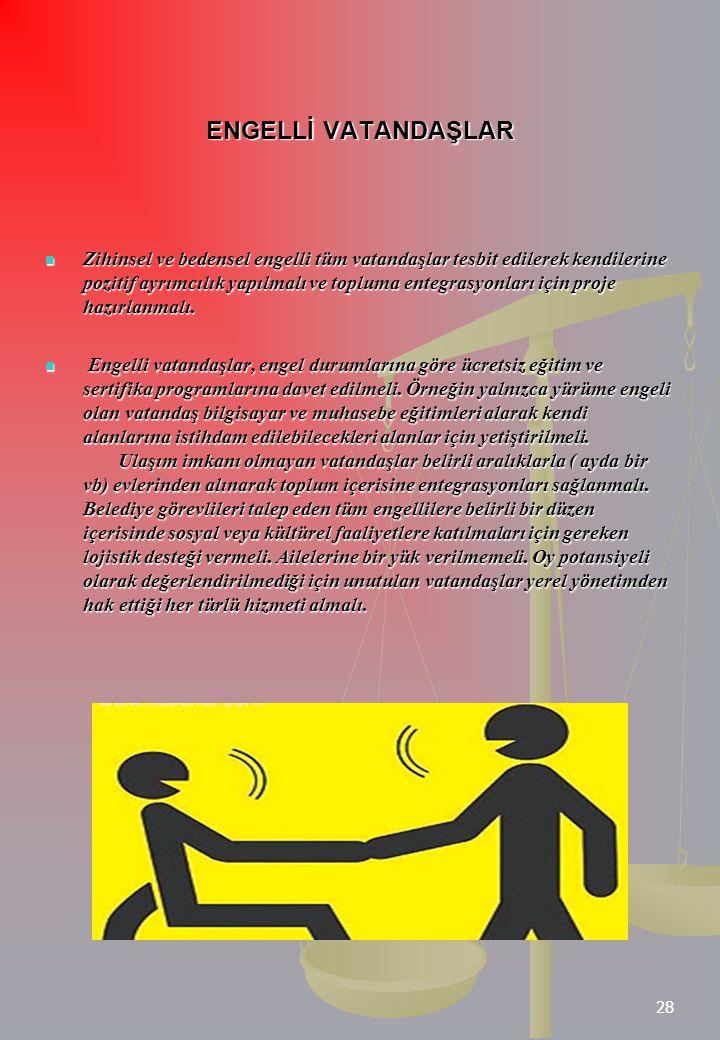 28 ENGELLİ VATANDAŞLAR Zihinsel ve bedensel engelli tüm vatandaşlar tesbit edilerek kendilerine pozitif ayrımcılık yapılmalı ve topluma entegrasyonlar