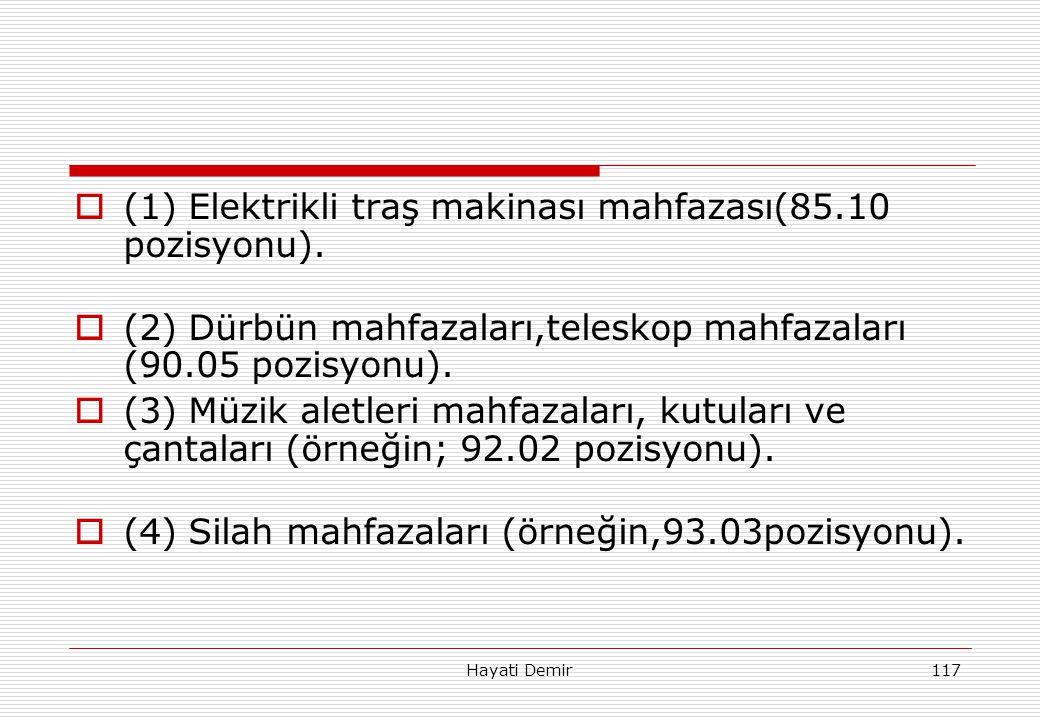 Hayati Demir117  (1) Elektrikli traş makinası mahfazası(85.10 pozisyonu).  (2) Dürbün mahfazaları,teleskop mahfazaları (90.05 pozisyonu).  (3) Müzi