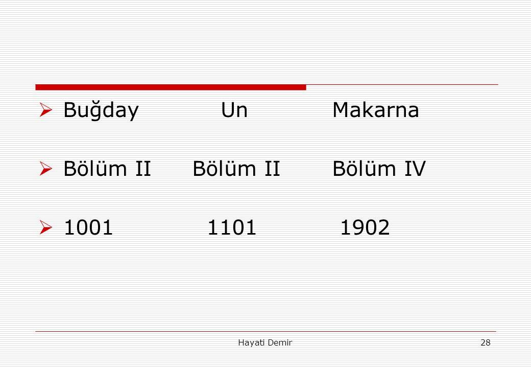 Hayati Demir28  Buğday UnMakarna  Bölüm II Bölüm IIBölüm IV  1001 1101 1902