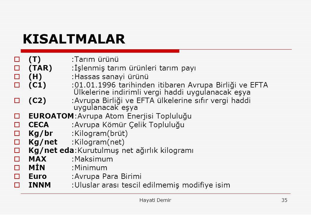 Hayati Demir35 KISALTMALAR  (T):Tarım ürünü  (TAR):İşlenmiş tarım ürünleri tarım payı  (H):Hassas sanayi ürünü  (C1):01.01.1996 tarihinden itibare