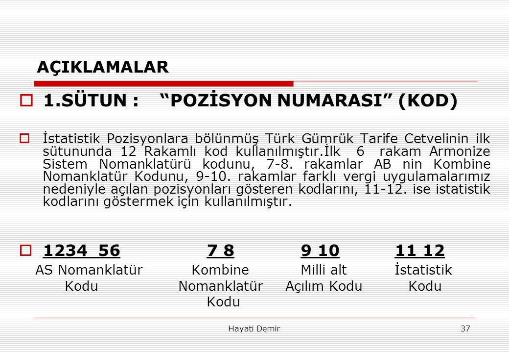 """Hayati Demir37 AÇIKLAMALAR  1.SÜTUN :""""POZİSYON NUMARASI"""" (KOD)  İstatistik Pozisyonlara bölünmüş Türk Gümrük Tarife Cetvelinin ilk sütununda 12 Raka"""