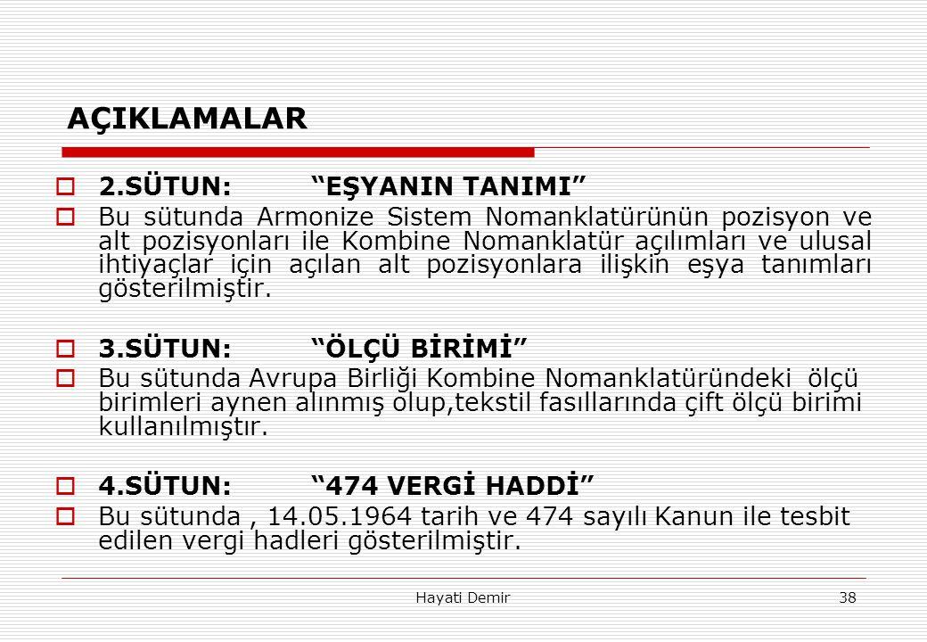 """Hayati Demir38 AÇIKLAMALAR  2.SÜTUN:""""EŞYANIN TANIMI""""  Bu sütunda Armonize Sistem Nomanklatürünün pozisyon ve alt pozisyonları ile Kombine Nomanklatü"""