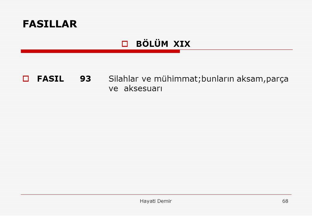 Hayati Demir68 FASILLAR  BÖLÜM XIX  FASIL93Silahlar ve mühimmat;bunların aksam,parça ve aksesuarı