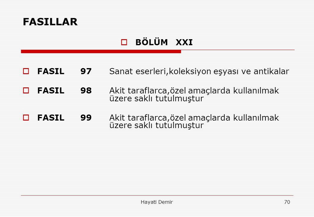 Hayati Demir70 FASILLAR  BÖLÜM XXI  FASIL97Sanat eserleri,koleksiyon eşyası ve antikalar  FASIL98Akit taraflarca,özel amaçlarda kullanılmak üzere s
