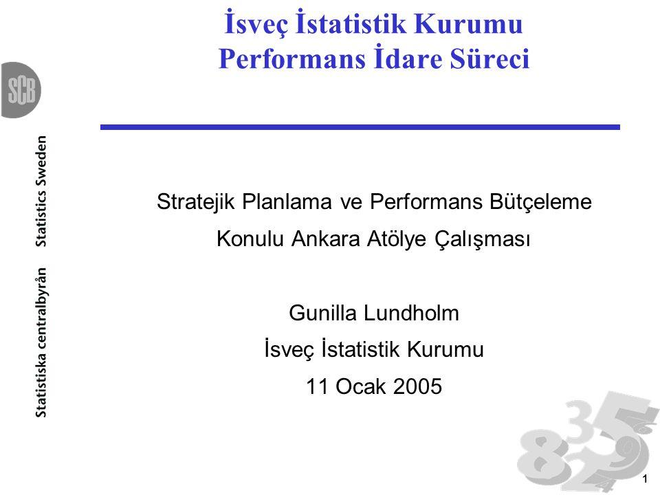 1 İsveç İstatistik Kurumu Performans İdare Süreci Stratejik Planlama ve Performans Bütçeleme Konulu Ankara Atölye Çalışması Gunilla Lundholm İsveç İst