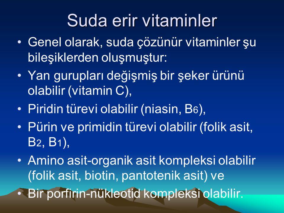 Suda erir vitaminler Genel olarak, suda çözünür vitaminler şu bileşiklerden oluşmuştur: Yan gurupları değişmiş bir şeker ürünü olabilir (vitamin C), Piridin türevi olabilir (niasin, B 6 ), Pürin ve primidin türevi olabilir (folik asit, B 2, B 1 ), Amino asit-organik asit kompleksi olabilir (folik asit, biotin, pantotenik asit) ve Bir porfirin-nükleotid kompleksi olabilir.