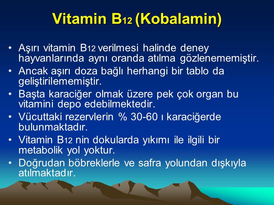 Vitamin B 12 (Kobalamin) Aşırı vitamin B 12 verilmesi halinde deney hayvanlarında aynı oranda atılma gözlenememiştir.