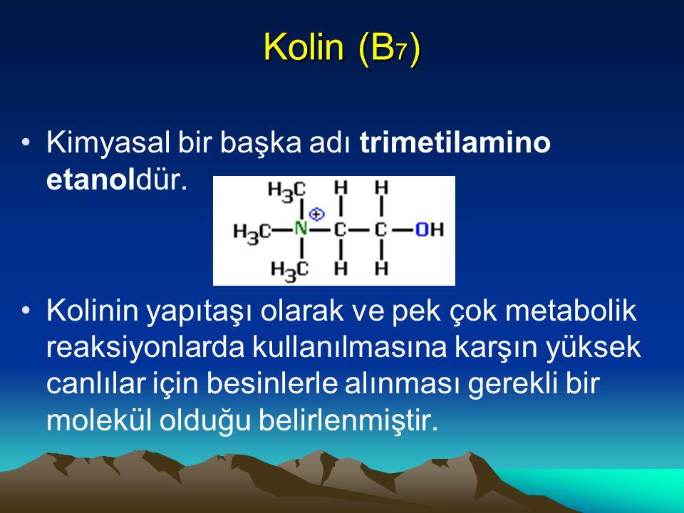 Kolin (B 7 ) Kimyasal bir başka adı trimetilamino etanoldür.
