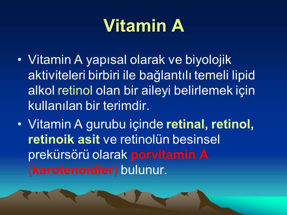 Vitamin A Vitamin A yapısal olarak ve biyolojik aktiviteleri birbiri ile bağlantılı temeli lipid alkol retinol olan bir aileyi belirlemek için kullanılan bir terimdir.
