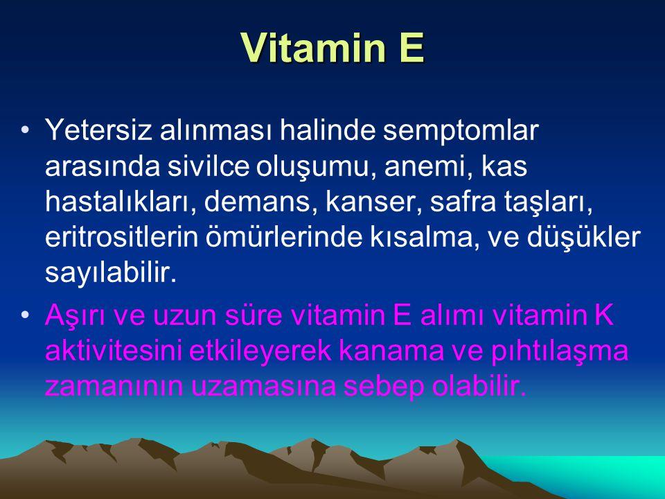 Vitamin E Yetersiz alınması halinde semptomlar arasında sivilce oluşumu, anemi, kas hastalıkları, demans, kanser, safra taşları, eritrositlerin ömürlerinde kısalma, ve düşükler sayılabilir.