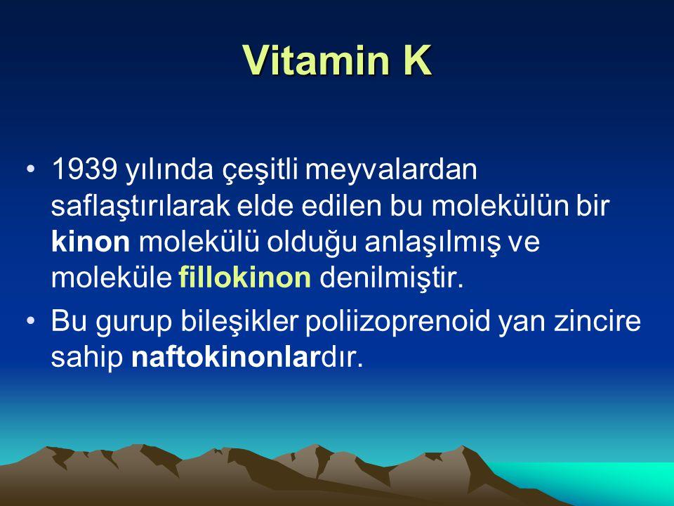 Vitamin K 1939 yılında çeşitli meyvalardan saflaştırılarak elde edilen bu molekülün bir kinon molekülü olduğu anlaşılmış ve moleküle fillokinon denilmiştir.