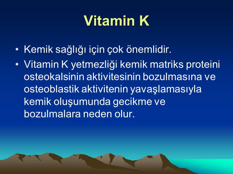 Vitamin K Kemik sağlığı için çok önemlidir.