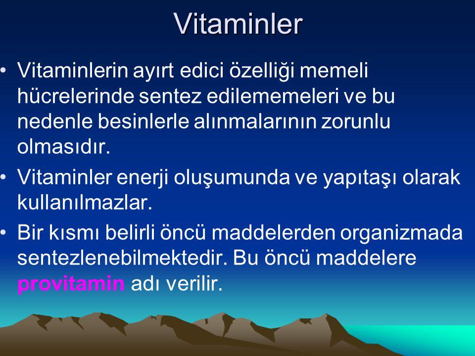 Vitaminler Vitaminlerin ayırt edici özelliği memeli hücrelerinde sentez edilememeleri ve bu nedenle besinlerle alınmalarının zorunlu olmasıdır.