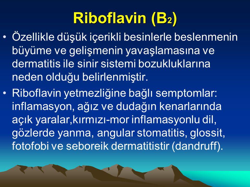 Riboflavin (B 2 ) Özellikle düşük içerikli besinlerle beslenmenin büyüme ve gelişmenin yavaşlamasına ve dermatitis ile sinir sistemi bozukluklarına neden olduğu belirlenmiştir.