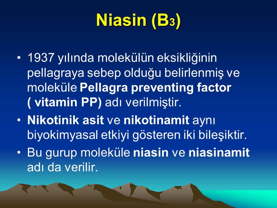 Niasin (B 3 ) 1937 yılında molekülün eksikliğinin pellagraya sebep olduğu belirlenmiş ve moleküle Pellagra preventing factor ( vitamin PP) adı verilmiştir.