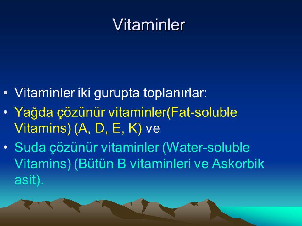 Vitaminler Vitaminler iki gurupta toplanırlar: Yağda çözünür vitaminler(Fat-soluble Vitamins) (A, D, E, K) ve Suda çözünür vitaminler (Water-soluble Vitamins) (Bütün B vitaminleri ve Askorbik asit).
