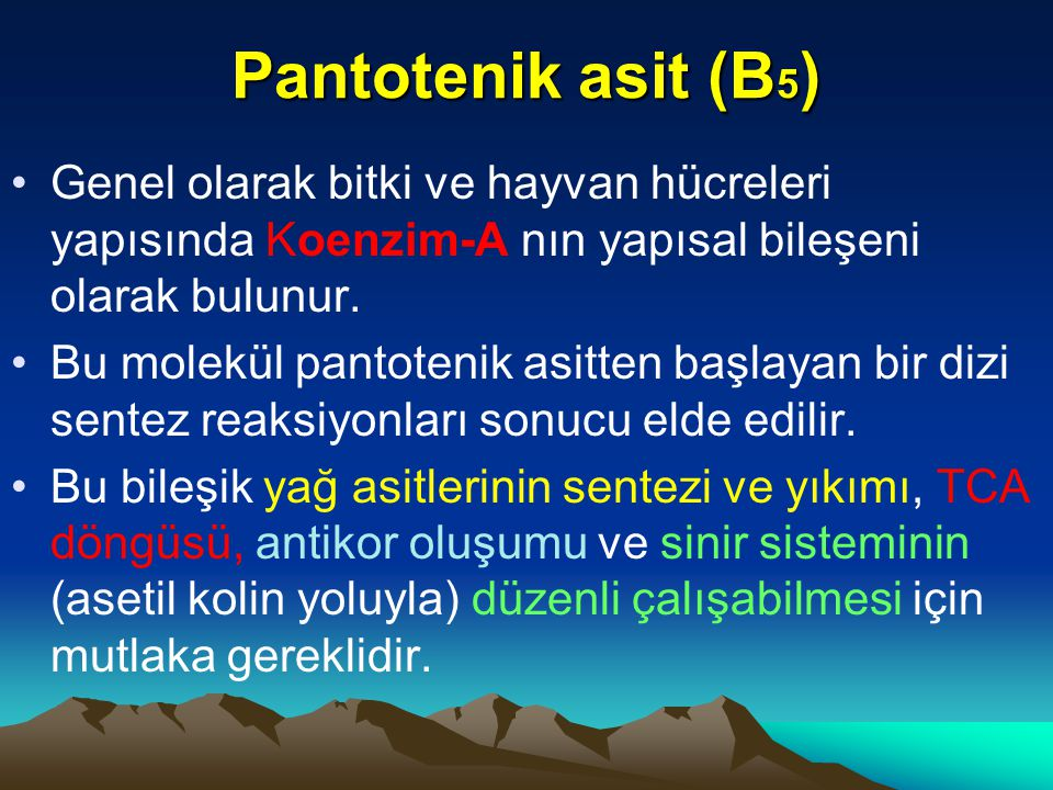 Pantotenik asit (B 5 ) Genel olarak bitki ve hayvan hücreleri yapısında Koenzim-A nın yapısal bileşeni olarak bulunur.