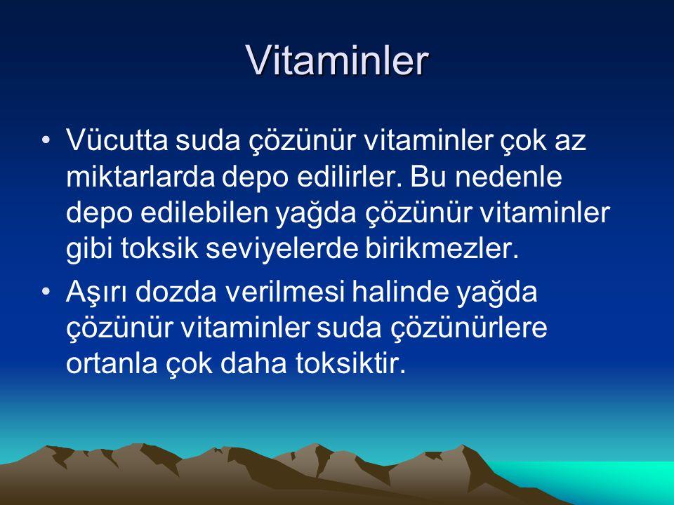 Vitaminler Vücutta suda çözünür vitaminler çok az miktarlarda depo edilirler.