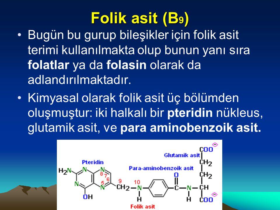 Folik asit (B 9 ) Bugün bu gurup bileşikler için folik asit terimi kullanılmakta olup bunun yanı sıra folatlar ya da folasin olarak da adlandırılmaktadır.