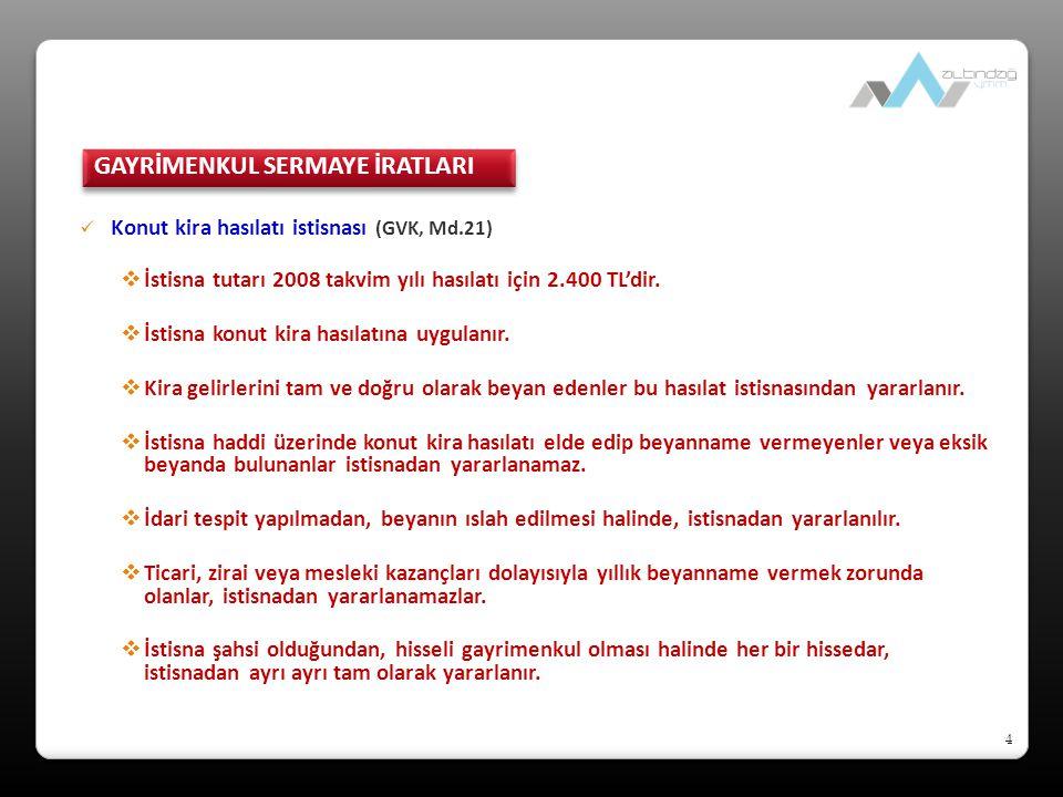 4 Konut kira hasılatı istisnası (GVK, Md.21)  İstisna tutarı 2008 takvim yılı hasılatı için 2.400 TL'dir.
