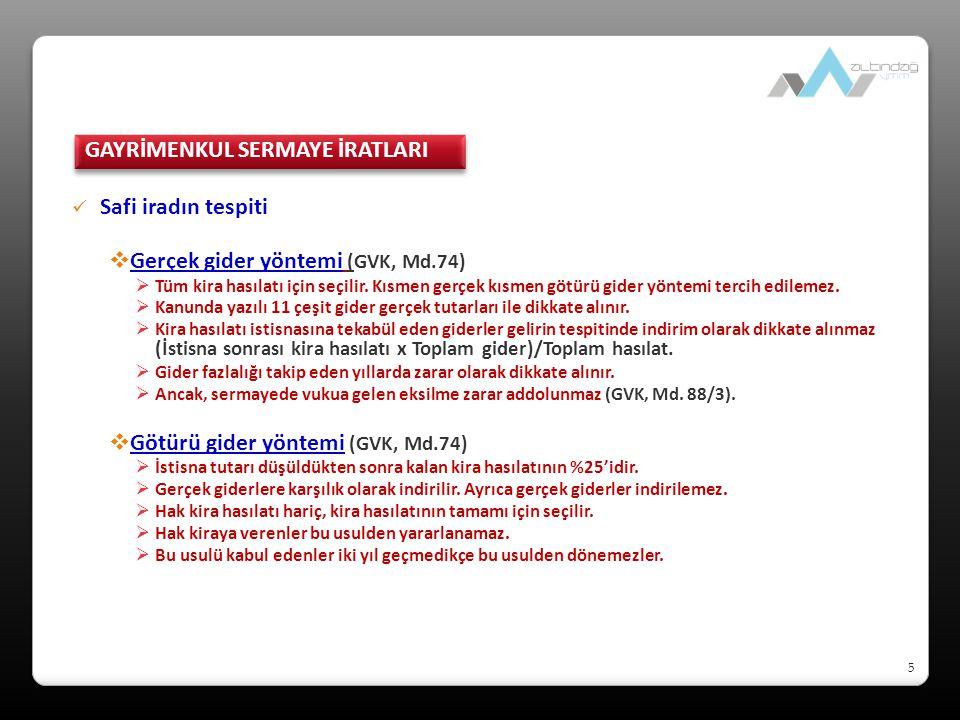 6 Safi iradın tespiti (gerçek gider) (GVK, Md.74)  ÖRNEK: Bayan Aydemir, Ankara'da bulunan dairesini konut olarak kiraya vermesi sonucu, 2008 takvim yılında 12.800 TL kira hasılatı elde etmiştir.