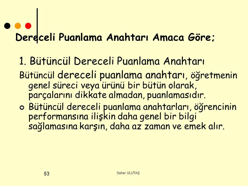 Seher ULUTAŞ 53 Dereceli Puanlama Anahtarı Amaca Göre; 1.