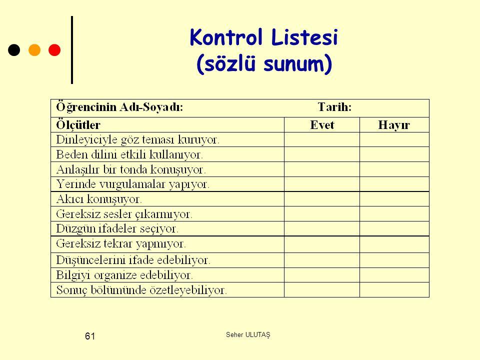 Seher ULUTAŞ 61 Kontrol Listesi (sözlü sunum)