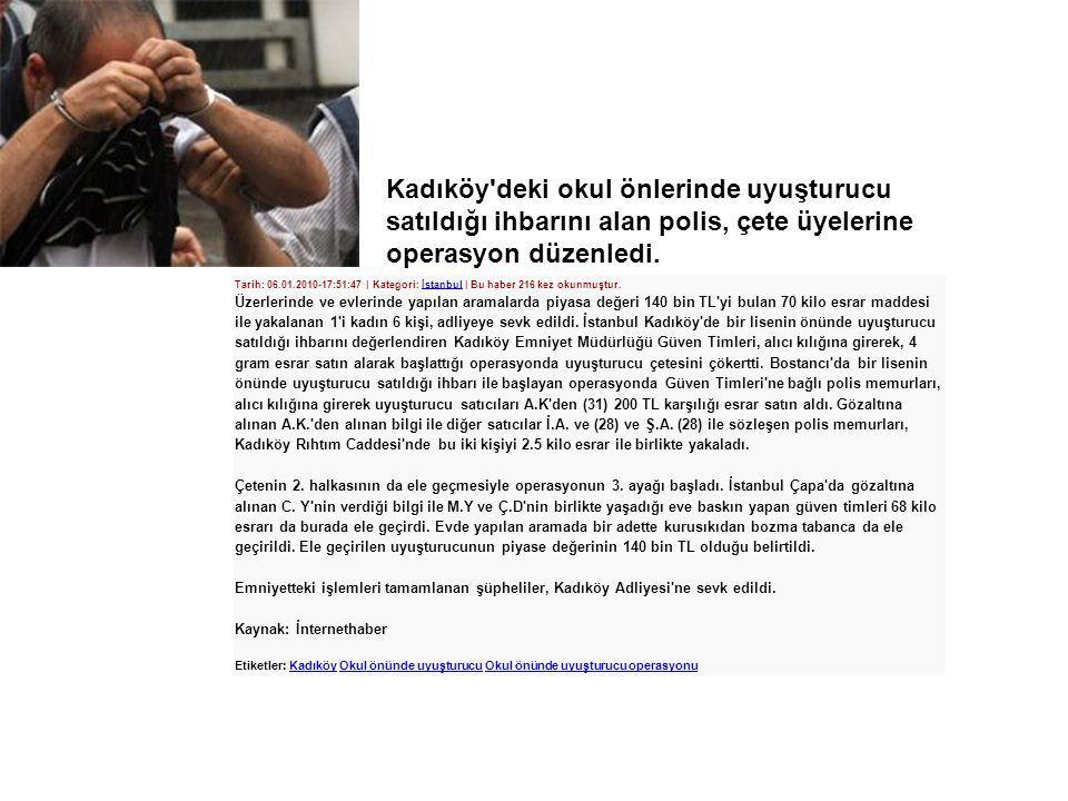 Tarih: 06.01.2010-17:51:47 | Kategori: İstanbul | Bu haber 216 kez okunmuştur.İstanbul Üzerlerinde ve evlerinde yapılan aramalarda piyasa değeri 140 b