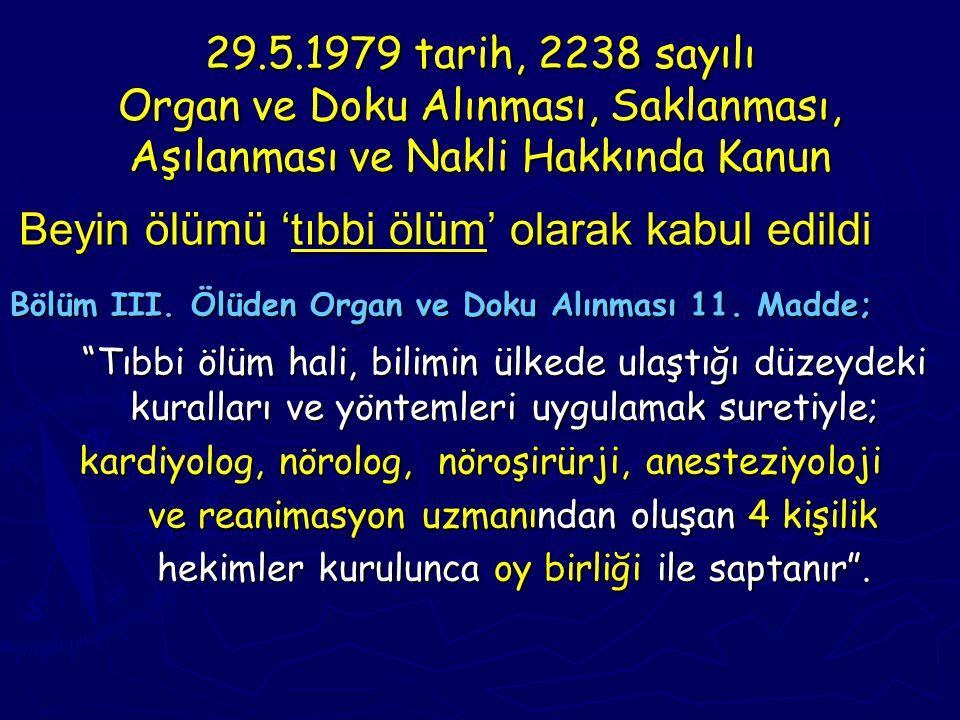 29.5.1979 tarih, 2238 sayılı Organ ve Doku Alınması, Saklanması, Aşılanması ve Nakli Hakkında Kanun Beyin ölümü 'tıbbi ölüm' olarak kabul edildi Beyin