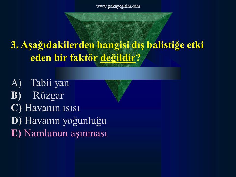www.gokayegitim.com 3. Aşağıdakilerden hangisi dış balistiğe etki eden bir faktör değildir? A)Tabii yan B) Rüzgar C) Havanın ısısı D) Havanın yoğunluğ