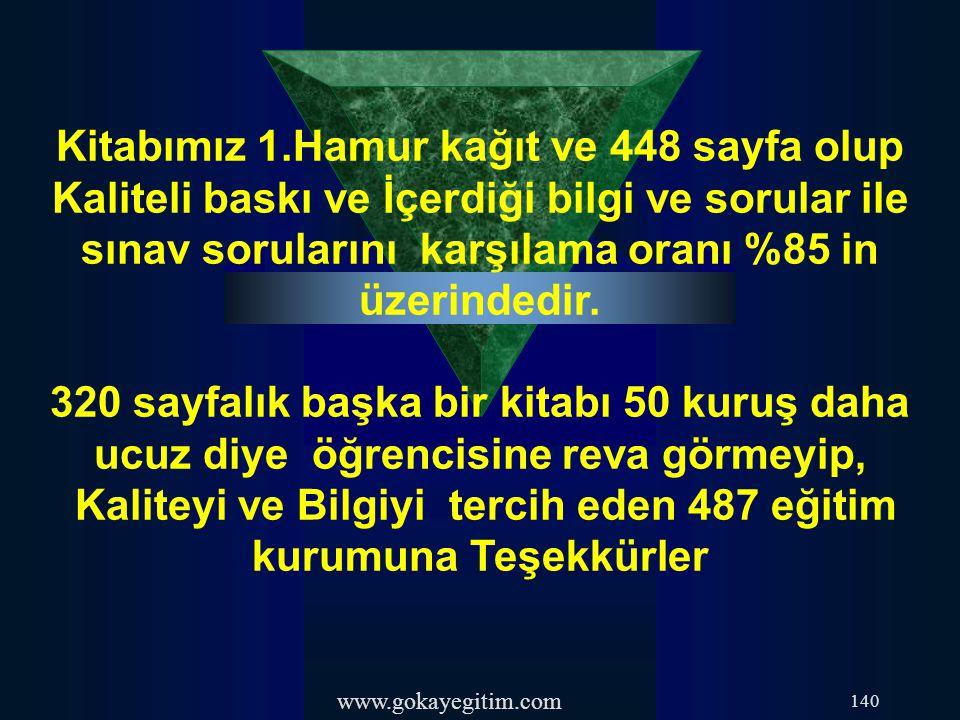 www.gokayegitim.com 140 Kitabımız 1.Hamur kağıt ve 448 sayfa olup Kaliteli baskı ve İçerdiği bilgi ve sorular ile sınav sorularını karşılama oranı %85
