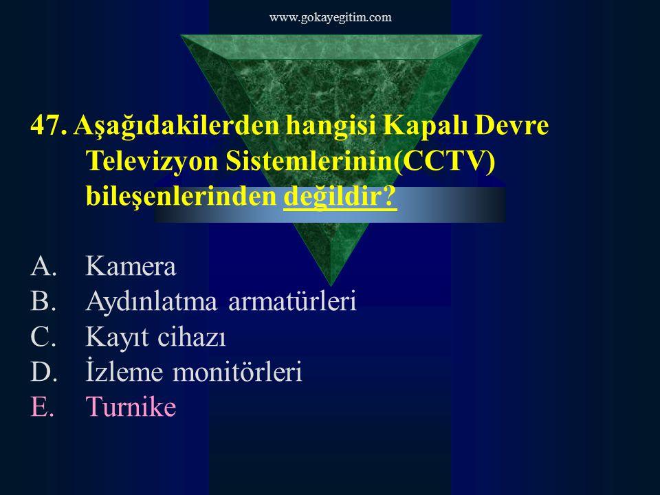 www.gokayegitim.com 47. Aşağıdakilerden hangisi Kapalı Devre Televizyon Sistemlerinin(CCTV) bileşenlerinden değildir? A.Kamera B.Aydınlatma armatürler