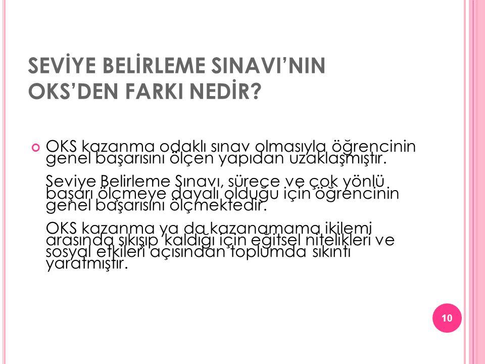 SEVİYE BELİRLEME SINAVI'NIN OKS'DEN FARKI NEDİR.