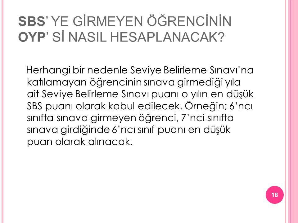 SBS' YE GİRMEYEN ÖĞRENCİNİN OYP' Sİ NASIL HESAPLANACAK.