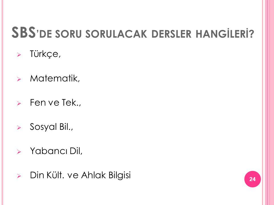 SBS 'DE SORU SORULACAK DERSLER HANGİLERİ?  Türkçe,  Matematik,  Fen ve Tek.,  Sosyal Bil.,  Yabancı Dil,  Din Kült. ve Ahlak Bilgisi 24