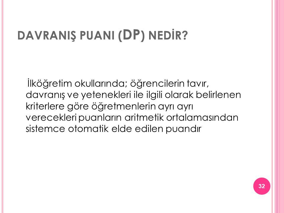 DAVRANIŞ PUANI ( DP ) NEDİR.
