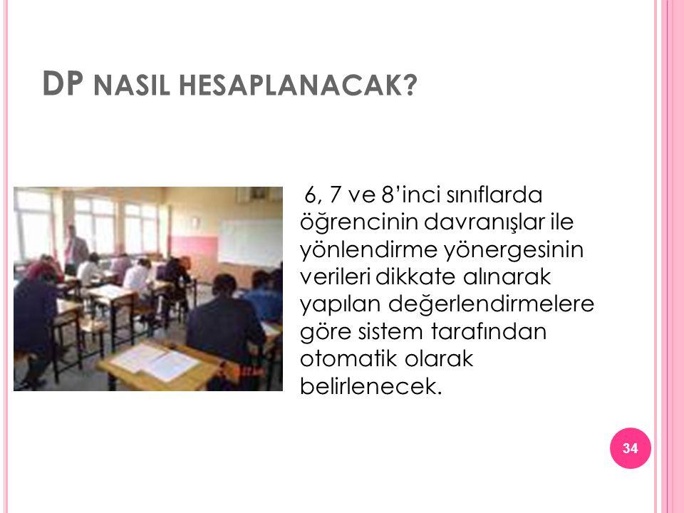 DP NASIL HESAPLANACAK? 6, 7 ve 8'inci sınıflarda öğrencinin davranışlar ile yönlendirme yönergesinin verileri dikkate alınarak yapılan değerlendirmele