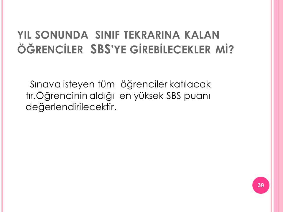 YIL SONUNDA SINIF TEKRARINA KALAN ÖĞRENCİLER SBS 'YE GİREBİLECEKLER Mİ.