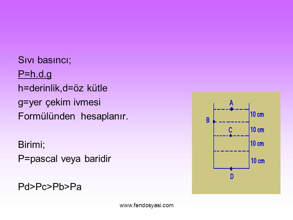www.fendosyasi.com Sıvı basıncı; P=h.d.g h=derinlik,d=öz kütle g=yer çekim ivmesi Formülünden hesaplanır. Birimi; P=pascal veya baridir Pd>Pc>Pb>Pa
