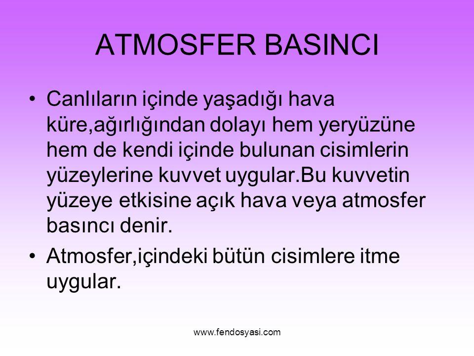 www.fendosyasi.com ATMOSFER BASINCI Canlıların içinde yaşadığı hava küre,ağırlığından dolayı hem yeryüzüne hem de kendi içinde bulunan cisimlerin yüze
