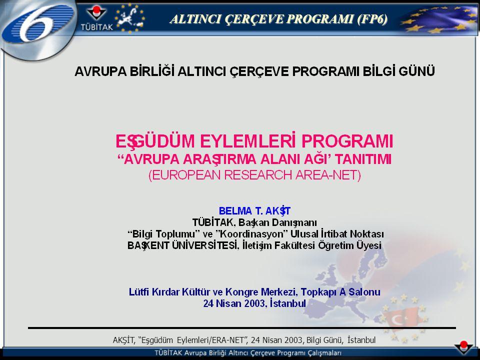 ALTINCI ÇERÇEVE PROGRAMI (FP6) AKŞİT, Eşgüdüm Eylemleri/ERA-NET , 24 Nisan 2003, Bilgi Günü, İstanbul Sunum planı: Avrupa Araştırma Alanı, Bloklar Koordinasyon Eylemleri ve amaçları Koordinasyon Eylemeleri: Genel Yaklaşım: 1.