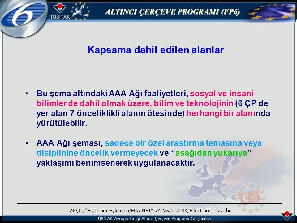 ALTINCI ÇERÇEVE PROGRAMI (FP6) AKŞİT, Eşgüdüm Eylemleri/ERA-NET , 24 Nisan 2003, Bilgi Günü, İstanbul Kapsama dahil edilen alanlar Bu şema altındaki AAA Ağı faaliyetleri, sosyal ve insani bilimler de dahil olmak üzere, bilim ve teknolojinin (6 ÇP de yer alan 7 önceliklikli alanın ötesinde) herhangi bir alanında yürütülebilir.