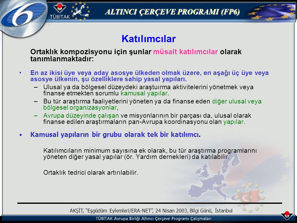 ALTINCI ÇERÇEVE PROGRAMI (FP6) AKŞİT, Eşgüdüm Eylemleri/ERA-NET , 24 Nisan 2003, Bilgi Günü, İstanbul Katılımcılar Ortaklık kompozisyonu için şunlar müsait katılımcılar olarak tanımlanmaktadır: En az ikisi üye veya aday asosye ülkeden olmak üzere, en aşağı üç üye veya asosye ülkenin, şu özelliklere sahip yasal yapıları.