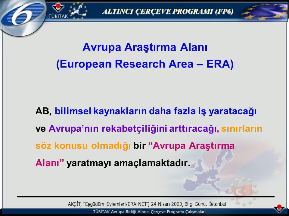 ALTINCI ÇERÇEVE PROGRAMI (FP6) AKŞİT, Eşgüdüm Eylemleri/ERA-NET , 24 Nisan 2003, Bilgi Günü, İstanbul Avrupa Araştırma Alanı (European Research Area – ERA) AB, bilimsel kaynakların daha fazla iş yaratacağı ve Avrupa'nın rekabetçiliğini arttıracağı, sınırların söz konusu olmadığı bir Avrupa Araştırma Alanı yaratmayı amaçlamaktadır.