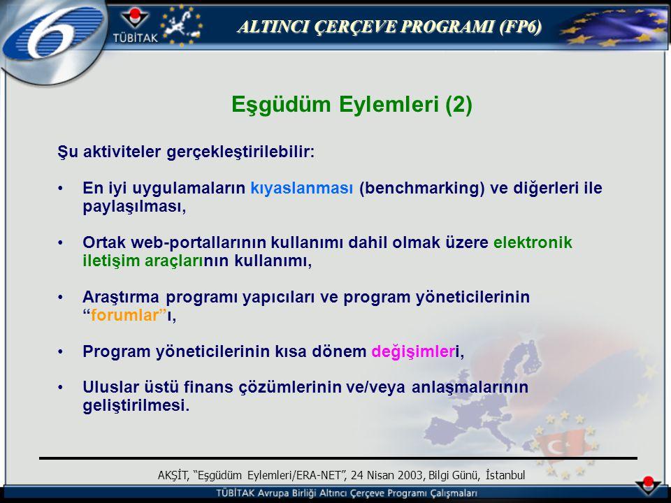 ALTINCI ÇERÇEVE PROGRAMI (FP6) AKŞİT, Eşgüdüm Eylemleri/ERA-NET , 24 Nisan 2003, Bilgi Günü, İstanbul Eşgüdüm Eylemleri (2) Şu aktiviteler gerçekleştirilebilir: En iyi uygulamaların kıyaslanması (benchmarking) ve diğerleri ile paylaşılması, Ortak web-portallarının kullanımı dahil olmak üzere elektronik iletişim araçlarının kullanımı, Araştırma programı yapıcıları ve program yöneticilerinin forumlar ı, Program yöneticilerinin kısa dönem değişimleri, Uluslar üstü finans çözümlerinin ve/veya anlaşmalarının geliştirilmesi.