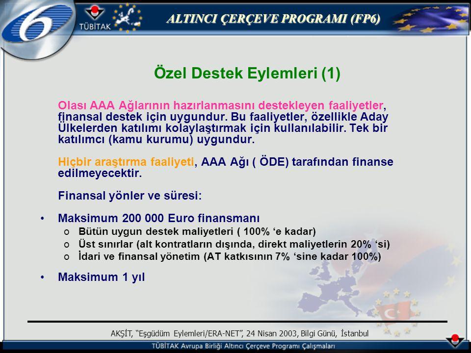 ALTINCI ÇERÇEVE PROGRAMI (FP6) AKŞİT, Eşgüdüm Eylemleri/ERA-NET , 24 Nisan 2003, Bilgi Günü, İstanbul Özel Destek Eylemleri (1) Olası AAA Ağlarının hazırlanmasını destekleyen faaliyetler, finansal destek için uygundur.