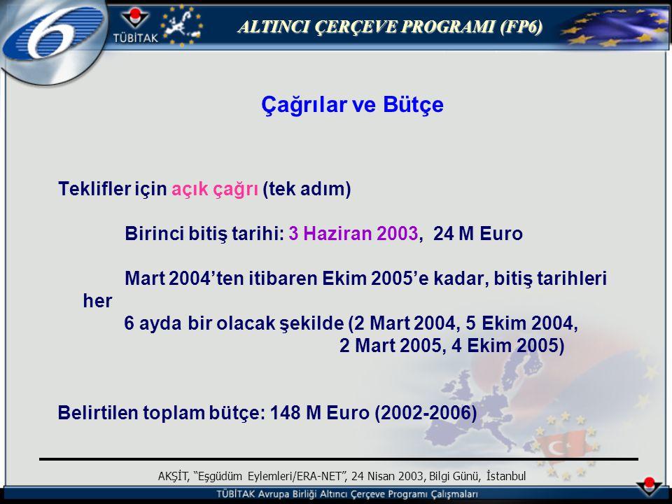 ALTINCI ÇERÇEVE PROGRAMI (FP6) AKŞİT, Eşgüdüm Eylemleri/ERA-NET , 24 Nisan 2003, Bilgi Günü, İstanbul Çağrılar ve Bütçe Teklifler için açık çağrı (tek adım) Birinci bitiş tarihi: 3 Haziran 2003, 24 M Euro Mart 2004'ten itibaren Ekim 2005'e kadar, bitiş tarihleri her 6 ayda bir olacak şekilde (2 Mart 2004, 5 Ekim 2004, 2 Mart 2005, 4 Ekim 2005) Belirtilen toplam bütçe: 148 M Euro (2002-2006)