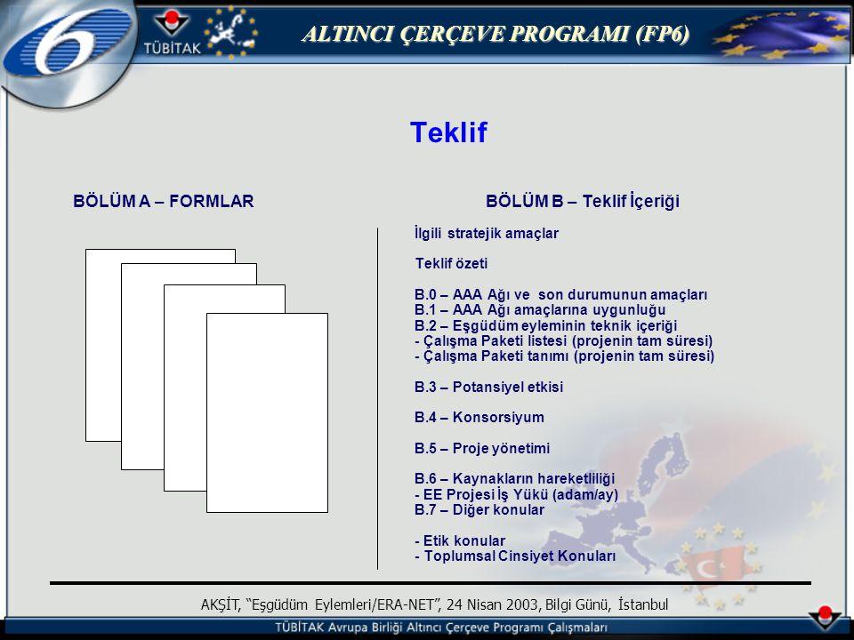 ALTINCI ÇERÇEVE PROGRAMI (FP6) AKŞİT, Eşgüdüm Eylemleri/ERA-NET , 24 Nisan 2003, Bilgi Günü, İstanbul Teklif BÖLÜM A – FORMLAR BÖLÜM B – Teklif İçeriği İlgili stratejik amaçlar Teklif özeti B.0 – AAA Ağı ve son durumunun amaçları B.1 – AAA Ağı amaçlarına uygunluğu B.2 – Eşgüdüm eyleminin teknik içeriği - Çalışma Paketi listesi (projenin tam süresi) - Çalışma Paketi tanımı (projenin tam süresi) B.3 – Potansiyel etkisi B.4 – Konsorsiyum B.5 – Proje yönetimi B.6 – Kaynakların hareketliliği - EE Projesi İş Yükü (adam/ay) B.7 – Diğer konular - Etik konular - Toplumsal Cinsiyet Konuları