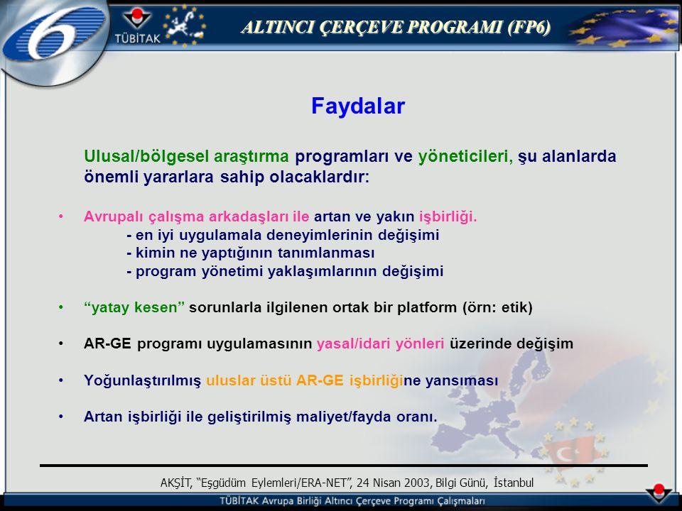 ALTINCI ÇERÇEVE PROGRAMI (FP6) AKŞİT, Eşgüdüm Eylemleri/ERA-NET , 24 Nisan 2003, Bilgi Günü, İstanbul Faydalar Ulusal/bölgesel araştırma programları ve yöneticileri, şu alanlarda önemli yararlara sahip olacaklardır: Avrupalı çalışma arkadaşları ile artan ve yakın işbirliği.