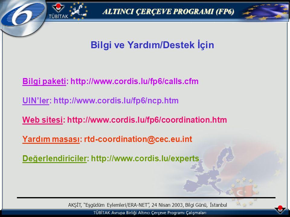 ALTINCI ÇERÇEVE PROGRAMI (FP6) AKŞİT, Eşgüdüm Eylemleri/ERA-NET , 24 Nisan 2003, Bilgi Günü, İstanbul Bilgi ve Yardım/Destek İçin Bilgi paketi: http://www.cordis.lu/fp6/calls.cfm UIN'ler: http://www.cordis.lu/fp6/ncp.htm Web sitesi: http://www.cordis.lu/fp6/coordination.htm Yardım masası: rtd-coordination@cec.eu.int Değerlendiriciler: http://www.cordis.lu/experts